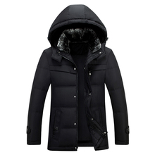 Winter Jacket Middle Age Men Plus Size 4XL Thick Warm Coat Casual Hooded With Fur 90% White Duck Down