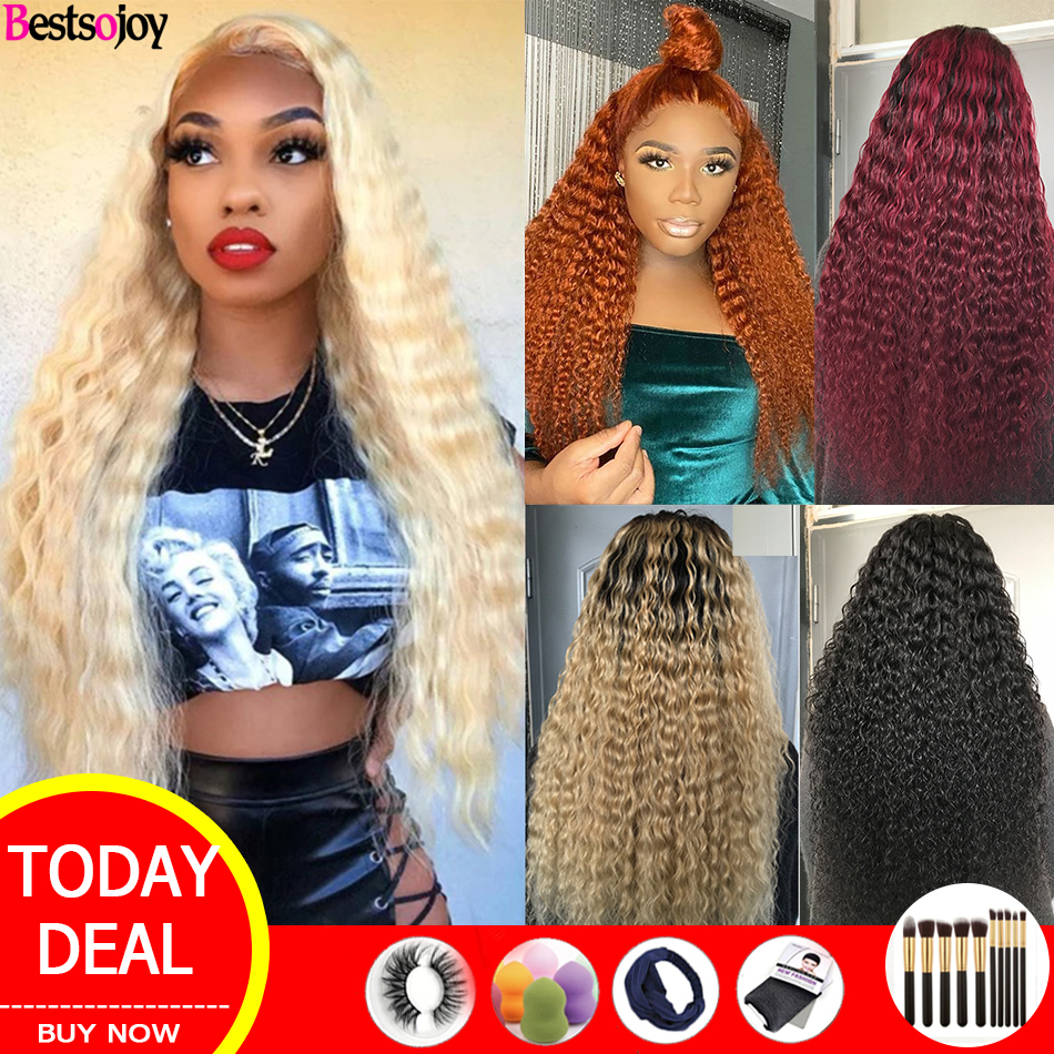 Bestsojoy 613 Blonde Curly Human Hair Wigs Ombre Lace Front Human Hair Wigs For Women Colored Burgundy Ginger Orange 8-26 Remy image