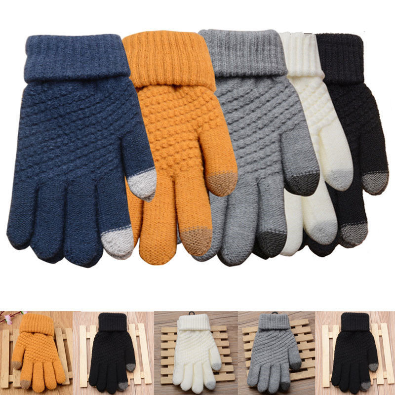 1 Pair Winter Warm Men's Women Mittens Gloves Touch Screen Fleece Lined Thermal Knitted Cotton Black Glove