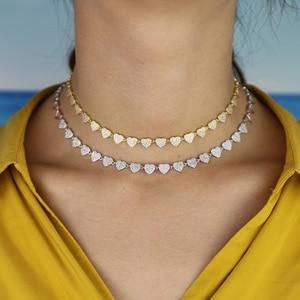 Image 5 - Hart ketting micro pave cz multi stuk heart charm link chain vriendin valentijnsdag gift mode sieraden