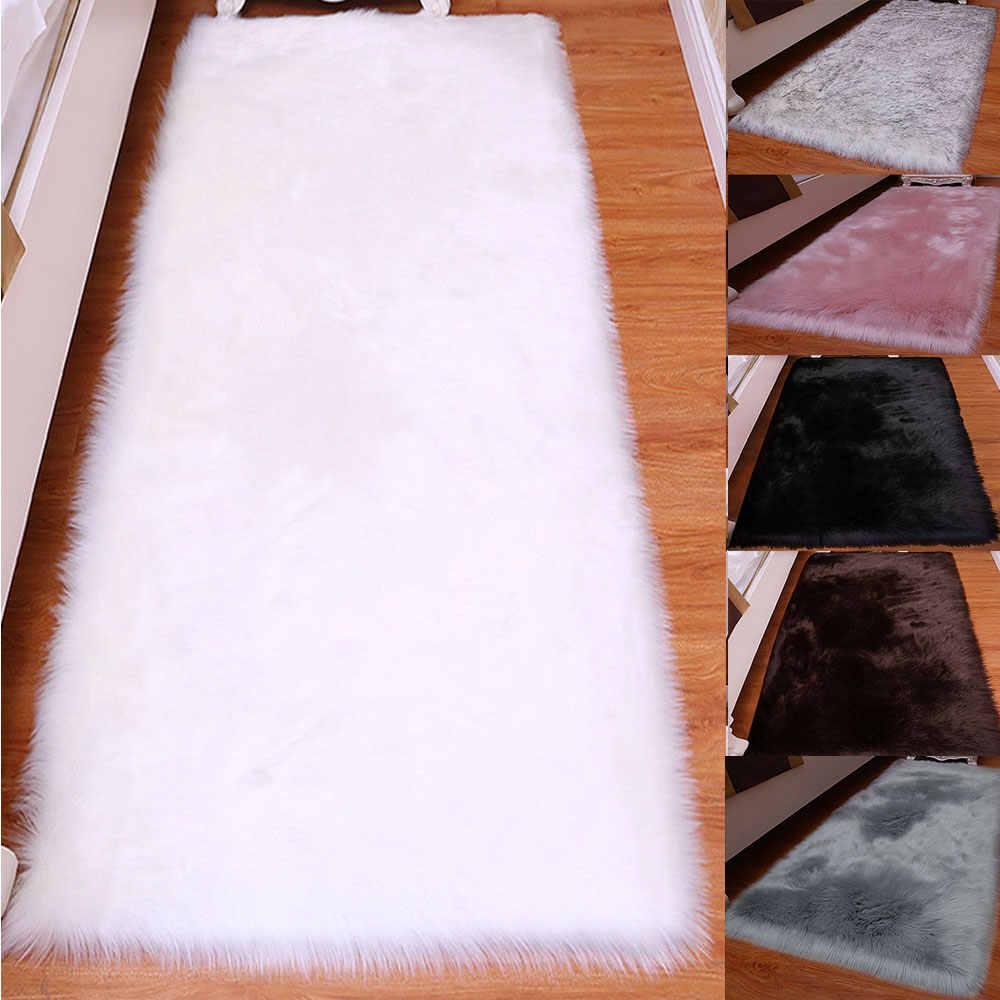 거실 용 털 복 숭이 카펫 가짜 모피 지역 깔개 거실 매트 실키 러그 따뜻한 플러시 바닥 깔개 무성한 매트 어린이 방