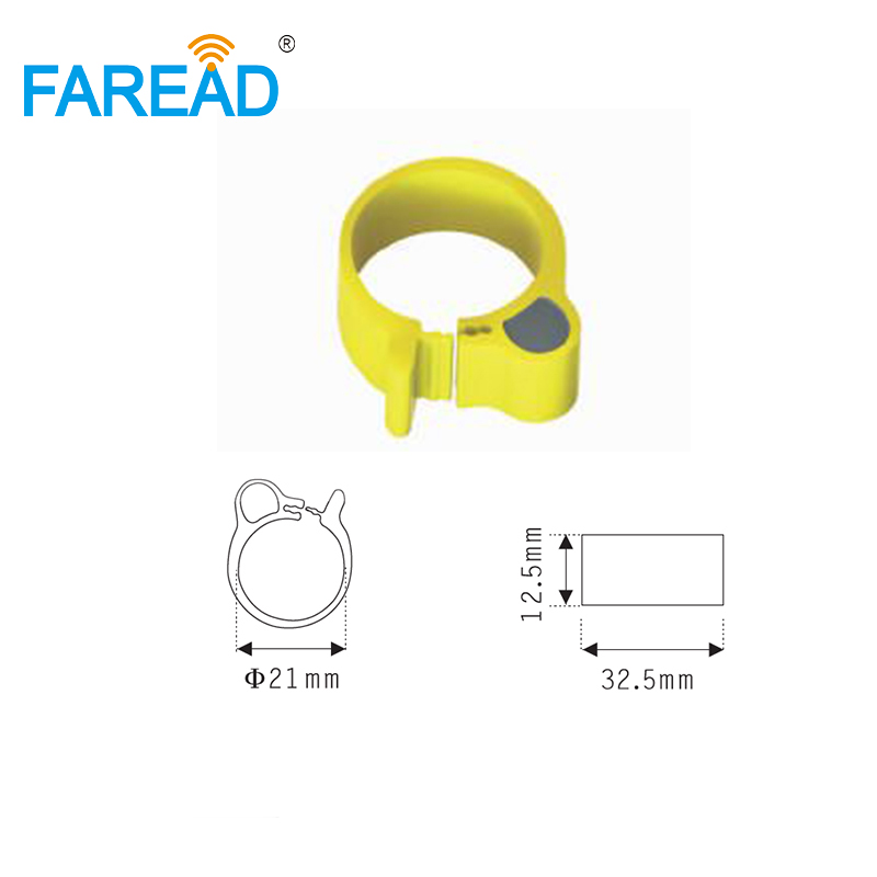 Free Shipping X100pcs 21mm RFID TK4100 Chip 125Khz RFID Foot  Tag Ring For Chicken Duck Gooses ID Tagging