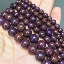 Naturalny kamień fioletowy Zijin Jaspers luźne koraliki przekładki koraliki do tworzenia biżuterii 4 6 8 10 12mm 15 Cal Diy Charm bransoletki naszyjnik
