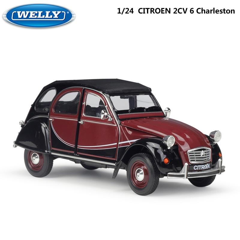 Welly modelo carro diecast 1:24 escala citroen 2cv 6 charleston clássico liga carro de brinquedo veículo de metal carro de brinquedo para crianças presente coleção