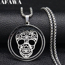 2019 Skull Black Color Crystal Stainless Steel Necklace Silver Necklaces & Pendants Women Jewelry gargantilla N19442
