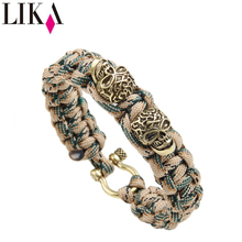 LIKA Men's Jewelry Bracelet Nylon Bracelets Personality Two Skull Shape Copper Trendy Cuff Bangles & Bracelet Wristband For Male trendy solid color nail shape cuff bracelet for women