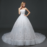 Overweight Sexy Sweetheart Wedding Dress Ball Gown Puffy Skirt for Girl Bride Gown Bridal with Crystals Beads Vestido De Noiva