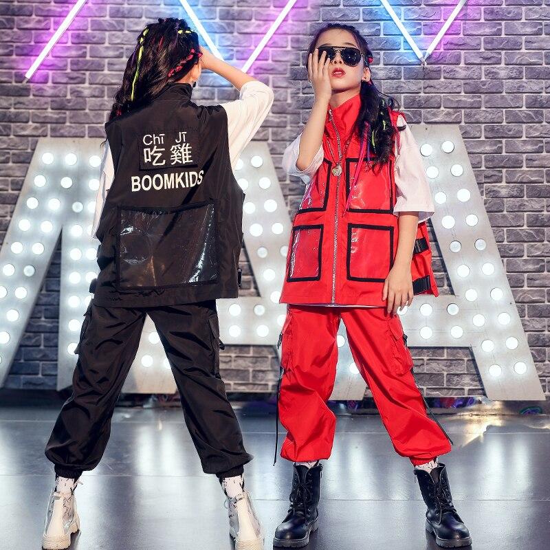 Children Street Dance Suit Boys Hip Hop Girls Jazz Clothing Black/Red Coat Pants Kids Catwalk Show Performance Costume DQL2275