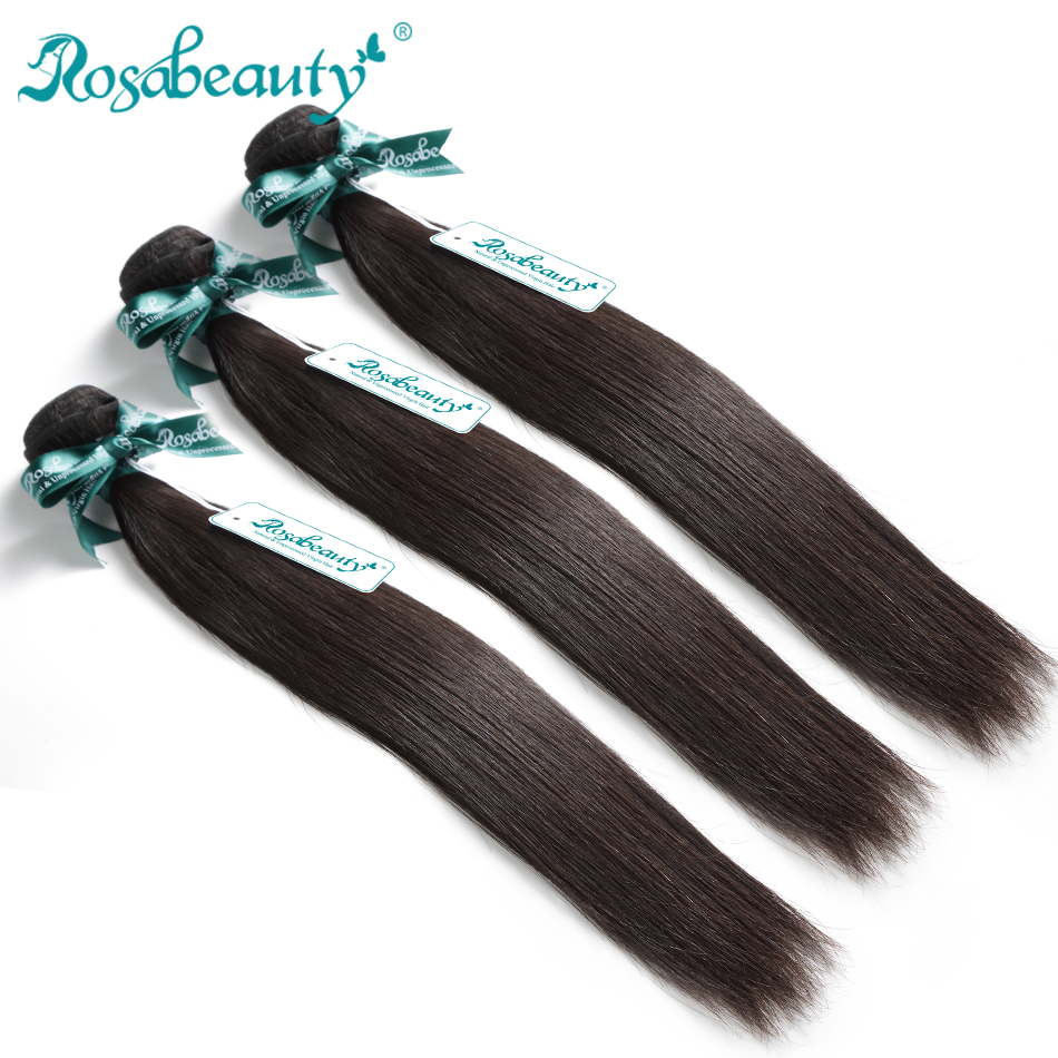 Rosabeauty 10A Indian Straight Hair Weave Bundles 6-30 28 Inch Bundles 100% Unprocessed Human Hair Wefts Virgin Hair Extensions