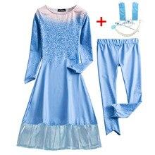 Платья Эльзы для девочек костюмы Снежной Королевы для детей, платье для косплея принцесса disfraz Хэллоуин Fantasia infantil menina congelados
