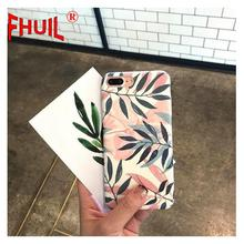 Phone Case For iPhone 6 6s 7 8 Plus X XR XS Max Fashion Fresh leaves Pattern Retro Cases Frosted PC Cover