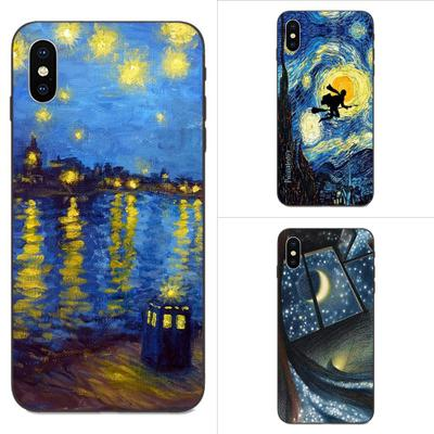 Clear TPU Custom Case Mobile <font><b>Cover</b></font> Design Simple for <font><b>iPhone</b></font> case <font><b>Harry</b></font> <font><b>Potter</b></font> Starry Night Gogh image