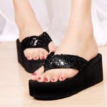 Flip-Flops Sandals Platform-Slippers Women Wedges Sequins Casual EVA