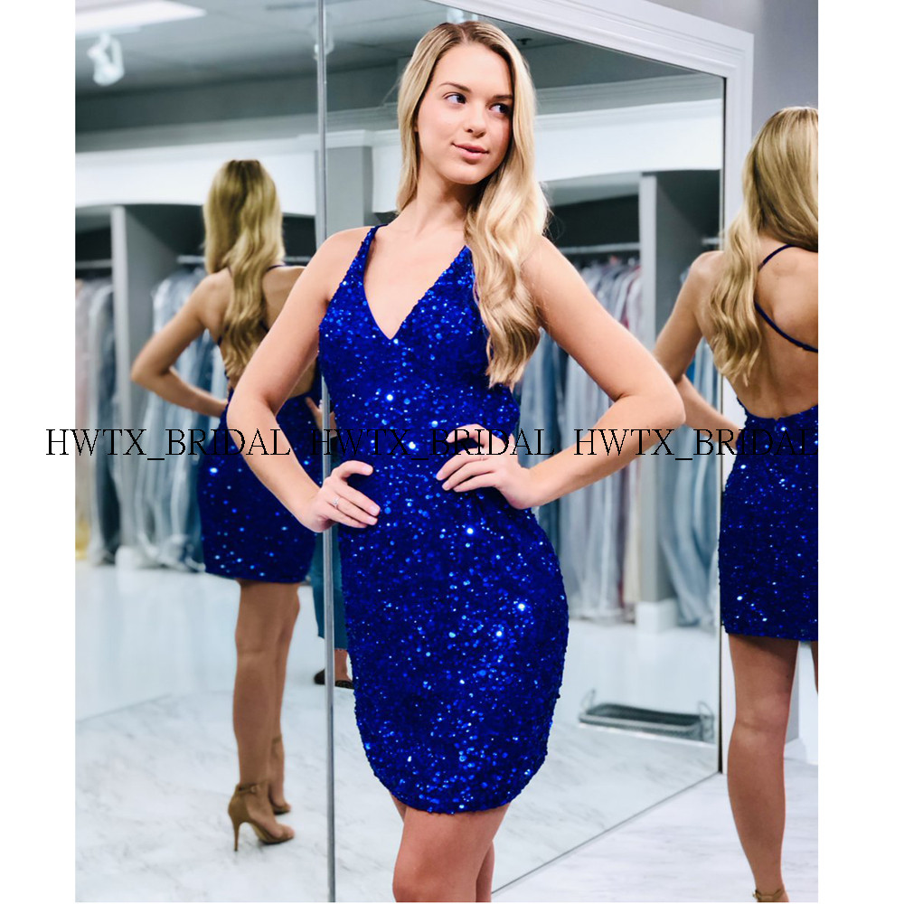Glitter Sequin Short Cocktail Dresses 2020 New Royal Blue Sleeveless Criss-cross Straps V-Neck Formal Party Gowns Robe Cocktail