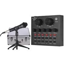 USB Karaoke Sound Card Microphone with Tripod Audio Cable Earphone for Broadcast Live Streaming for Tik Tok Karaoke Singing