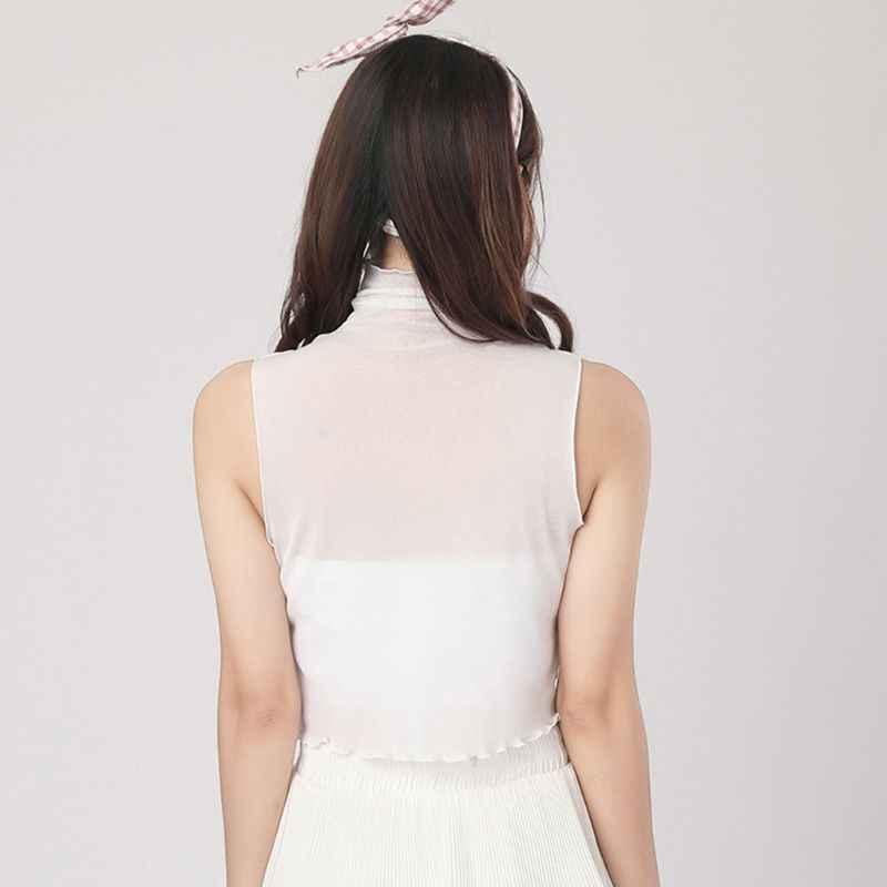 한국 여자 여자 플레 티드 터틀넥 가짜 칼라 풀오버 조끼 스타일 자르기 탑 쉬어 메쉬 프릴 장식 얇은 하프 셔츠