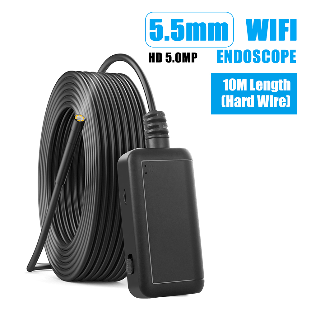 5.5mm Industrial Wifi Endoscope F220 WiFi Borescope Inspection Camera Built-in 6 LED IP67 Waterproof For IOS/Android Smartphones