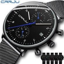 Mens שעון CRRJU יוקרה למעלה מותג גברים נירוסטה שעוני יד גברים של צבאי עמיד למים תאריך קוורץ שעונים Erkek Kol Saati