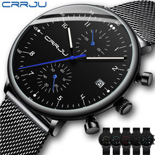 Mens Watch CRRJU Luxury Top Brand Men Stainless Steel WristWatch Mens Military waterproof Date Quartz watches Erkek Kol Saati