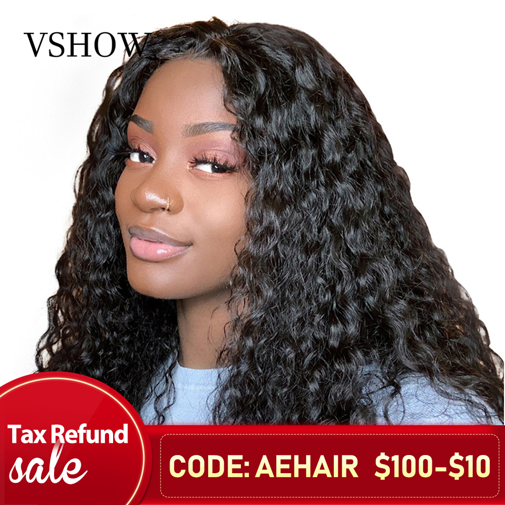 VSHOW 13*4 Brazilian Water Wave Lace Front Human Hair Wigs For Black Women 130% 150% 180% Density Remy Lace Wigs Pre Plucked