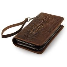 Free Ship Alligator Pattern Crazy Horse Leather Mens Brown Wallet Clutch Bag Checkbook # 8070R-1