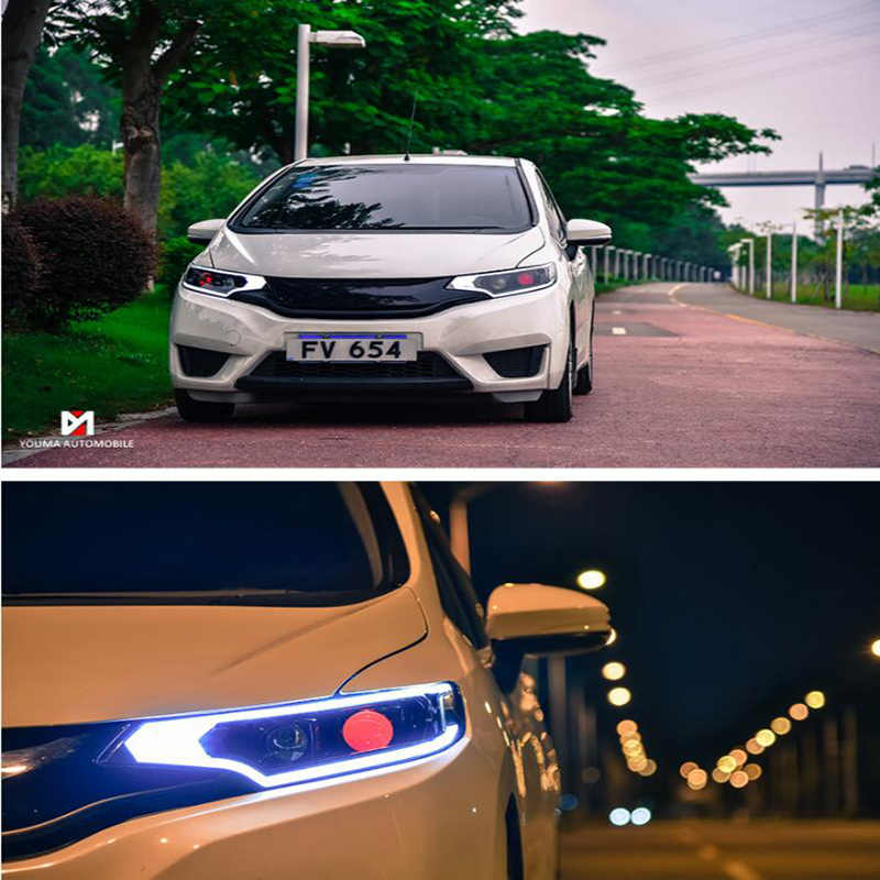 Auto Clud Car Styling For Honda fit headlights 2014-2017 For fit head lamp led DRL front Bi-Xenon Lens Double Beam HID KIT