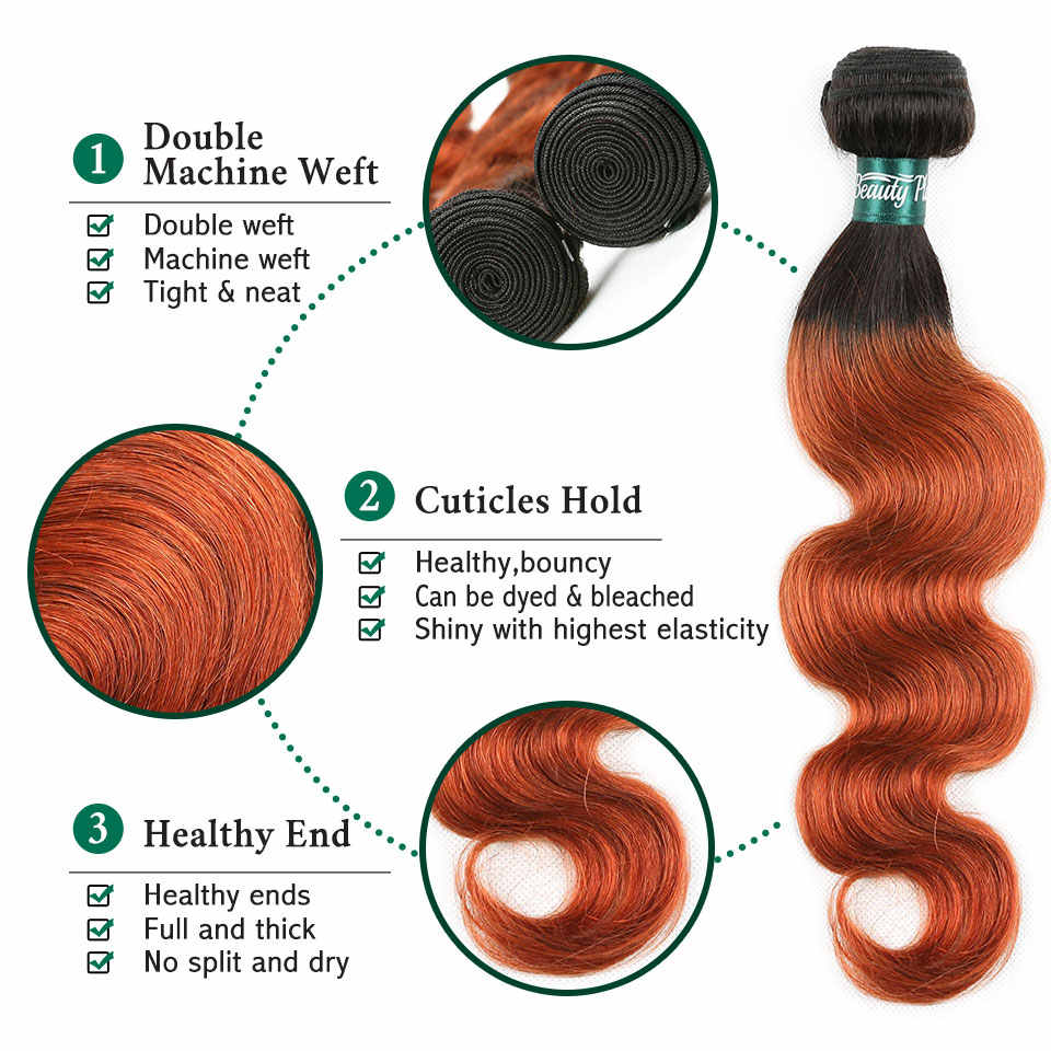 Orange Hair Bundles With Frontal 350 Ombre Body Wave pre colored Bundles With Closure 13*4 Baby Hair Brazilian Remy Human BP