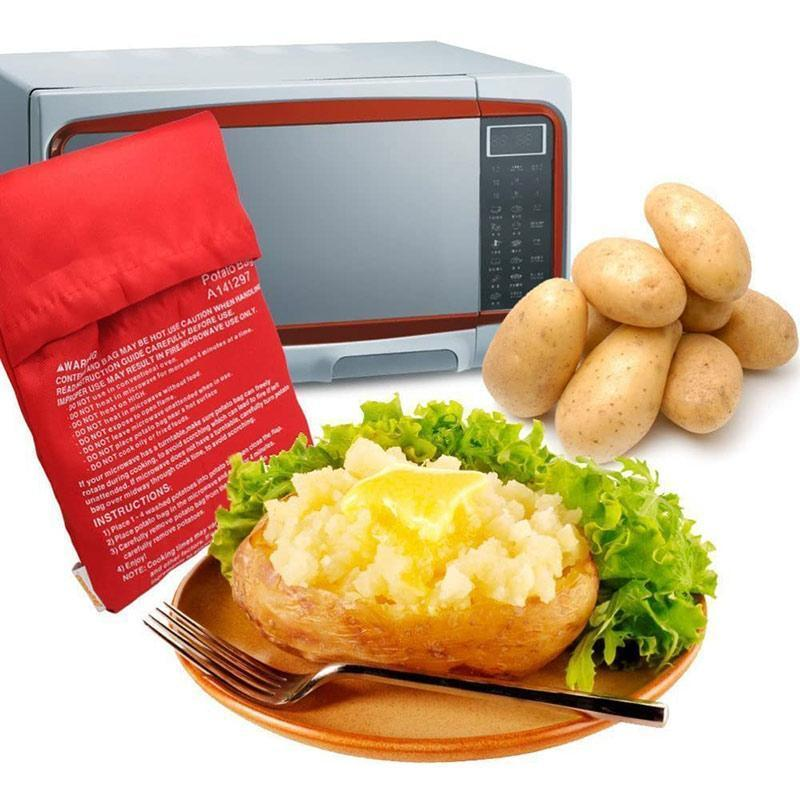 1PC Red Washable Cooker Bag Baked Potato Microwave Quick Cooking Potato Bag Baking Tool Kitchen Gadgets Accessories