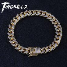 TOPGRILLZ Bracelet de chaîne cubaine Miami, 10mm, Bracelet cuivre or argent, glacé, Micro pavé CZ, bijoux Hip Hop pour hommes, cadeaux