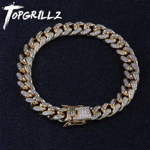 Image 1 - Topgrillz 10mm miami cubana corrente pulseira cobre ouro prata cor iced para fora micro pave cz pulseiras hip hop masculino jóias presentes