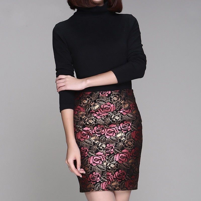 2020 New Printing Flower Office Lady Real Sheep Leather Skirts Women High Quality Plus Size 4XL Genuine Leather Sexy Mini Skirts