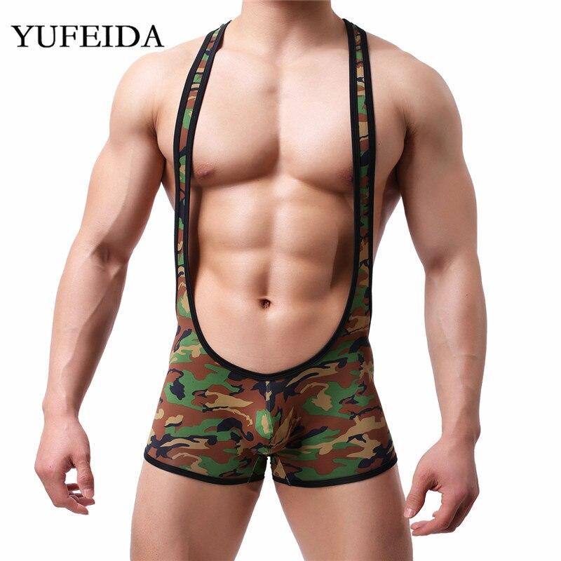 Sexy Mens Undershirts Bodysuits Camo Jumpsuits Underwear Wrestling Singlet One-Piece Leotard Boxer Shorts Overalls Sport Rompers