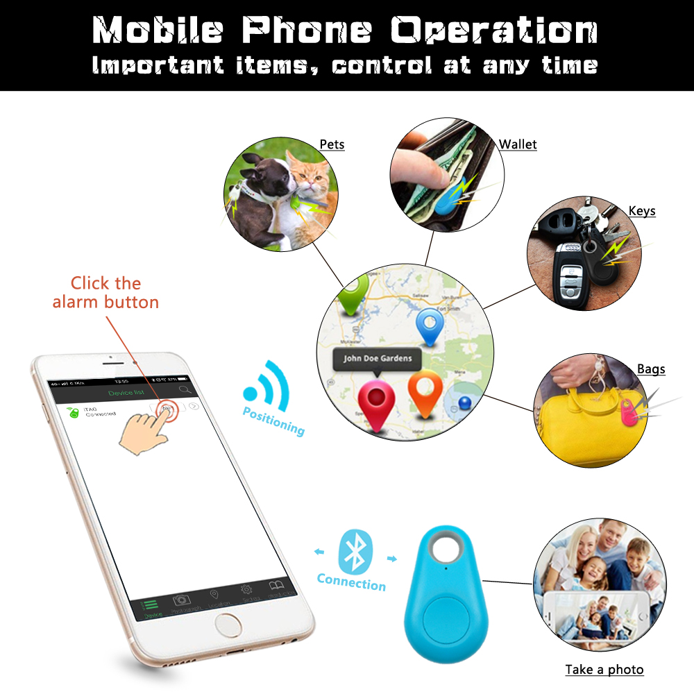 Pet Smart GPS Tracker Mini Anti Lost Waterproof Bluetooth Locator Tracer For Pet Dog Cat Kids Car Wallet Key Collar Accessories