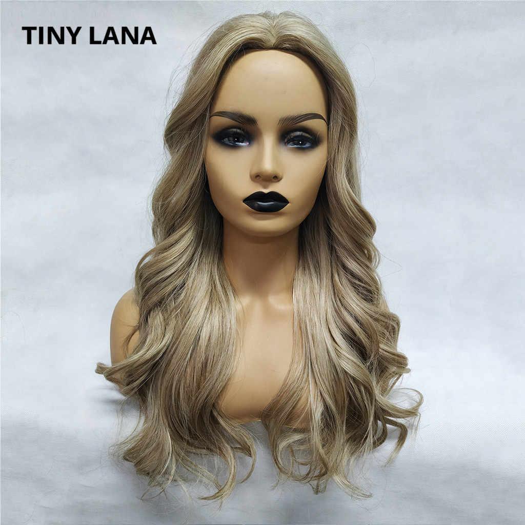 KÜÇÜK LANA 24 ''Uzun Ombre Kahverengi Kül Sarışın Yüksek Yoğunluklu Sıcaklık Sentetik Peruk Kadınlar Için Tutkalsız Dalgalı Cosplay Saç lolita