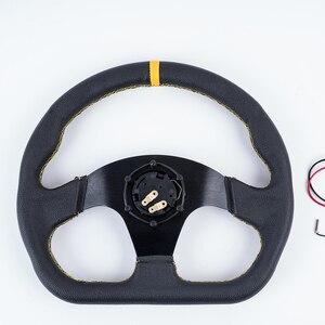 Image 4 - אוניברסלי פנים חלקי 13 אינץ PVC רכב מירוץ היגוי גלגלים עמוק תירס נסחף הגה ספורט עם לוגו