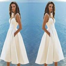 Short Wedding Dress 2019 Gowns Women Bohemian Satin Lace Appliques Zipper Tea Length Beach Bridal Party Dresses