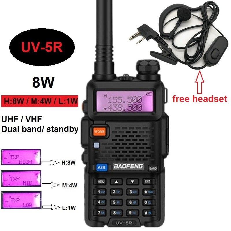8W/4W/1W BAOFENG UV-5R Walkie Talkie 10KM Radio Amateur VHF UHF CB Ham Radio Transceiver UV 5R 8W Transmitter Receiver Powerful