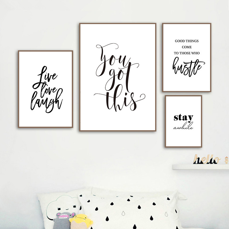 Wall Poster Live Love Laugh Inspiring Quotes Wall Art Canvas Painting Black White Wall Poster Prints For Living Room Home Decor Wall Stickers Aliexpress