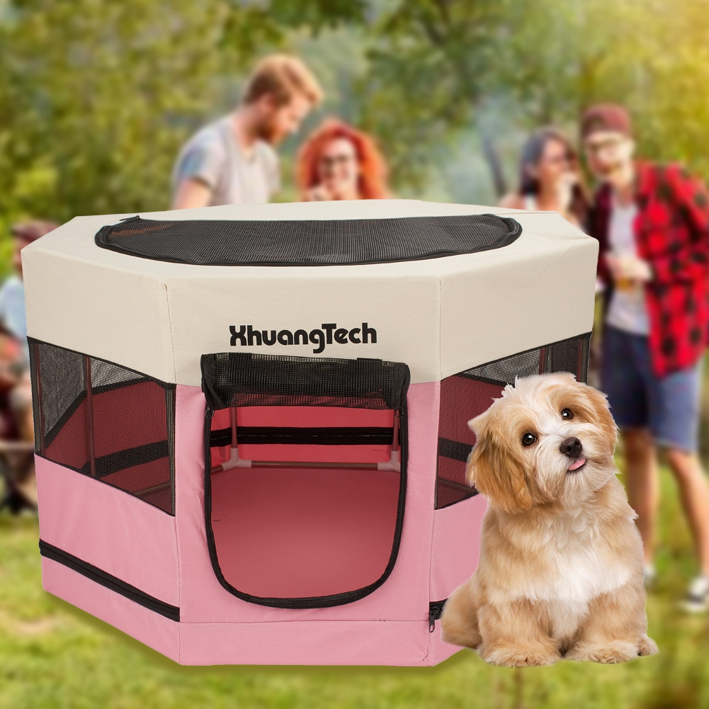 Portable Puppy Dog Cat Play Pen Pet Enclosure Fence Crate Playpen Kennel Running Tent Foldable Kitten Cage Mesh House Bed
