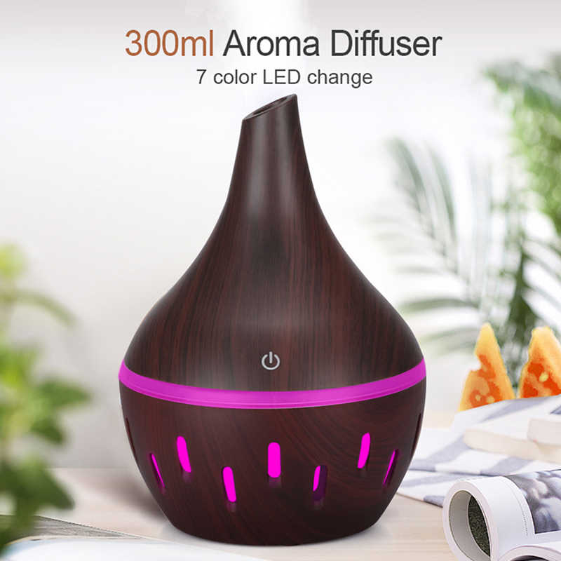 300ml hava nemlendirici aromaterapi uçucu yağ difüzör ahşap tahıl ultrasonik serin Mist difüzörler 7 renk LED işıkları ile