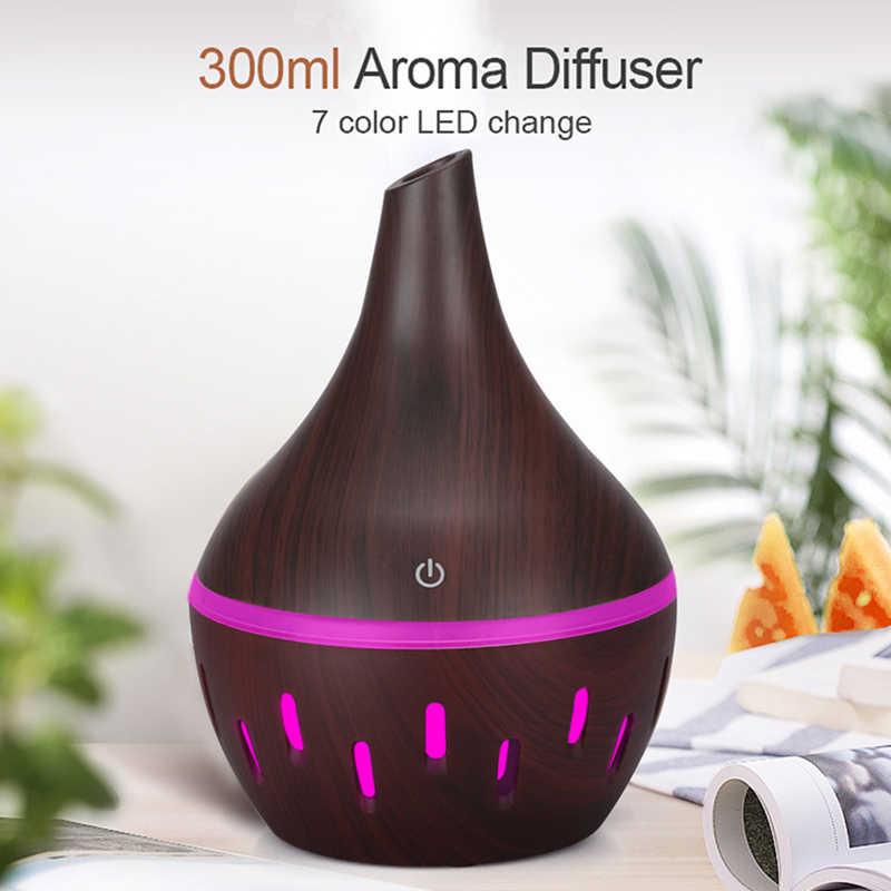 300ml luftbefeuchter Aromatherapie Ätherisches Öl Diffusor Holzmaserung Ultraschall Kühlen Nebel Diffusoren mit 7 Farbe Led-leuchten