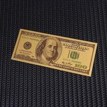 Позолоченные банкноты, античная Золотая фольга, 100 долларов, памятные банкноты на доллары, декоративные Поддельные Банкноты
