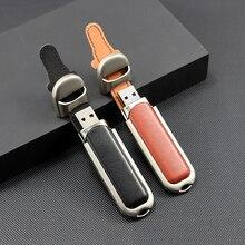 Tekst Me 64Gb 100% Real Capaciteit Bruin Zwart Lederen Model Usb Flash Drive Usb 2.0 4Gb 8gb 16Gb 32Gb Pen Drive Gift
