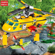 324Pcs City Rescue Team Jungle Helicopter Boat Building Blocks Set LegoINGs Bricks Educational Toys for Children Christmas Gifts