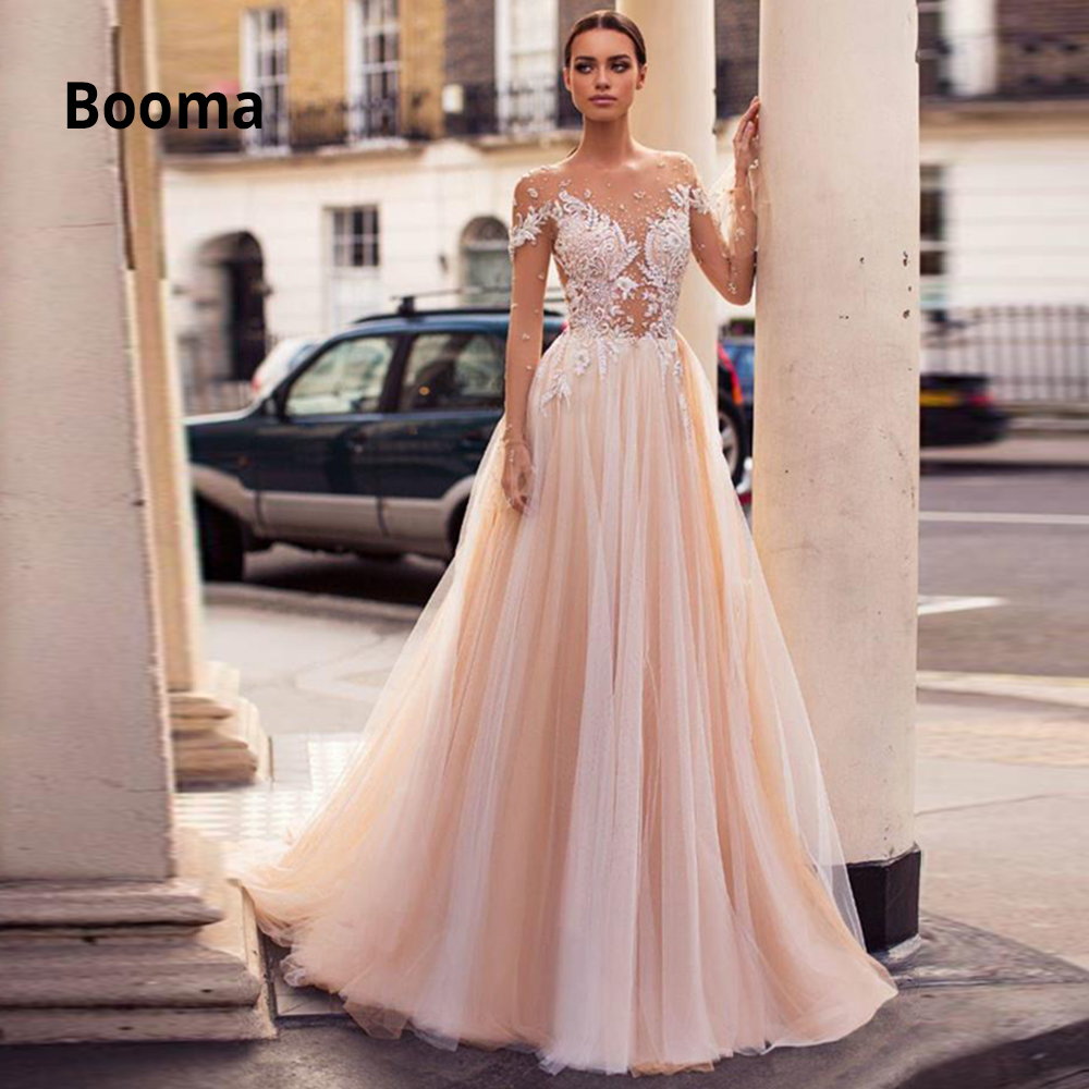 Booma Elegant Lace Appliqued Soft Tulle Wedding Dresses Beach 2020 Long Sleeve Illusion Bridal Gowns Boho Princess Party Dress