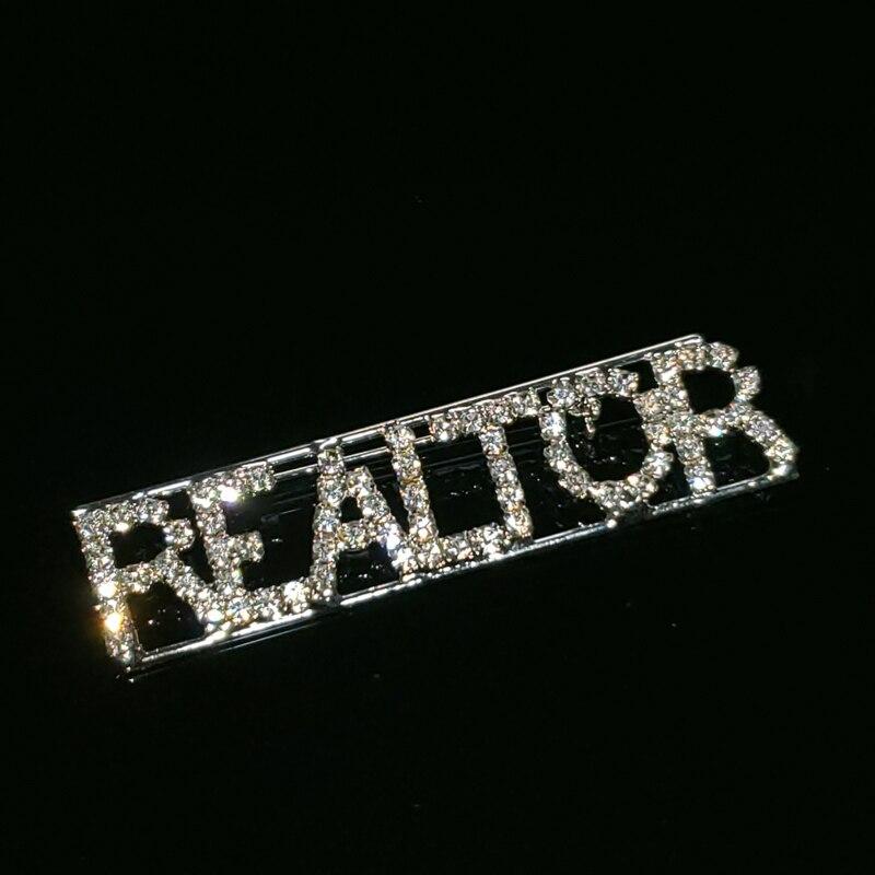 Булавка с отворотом ручной работы «риэлтор», булавка с надписью, Blingbling буквы с кристаллами булавка-брошь, подарок агенту по недвижимости, оптовая продажа