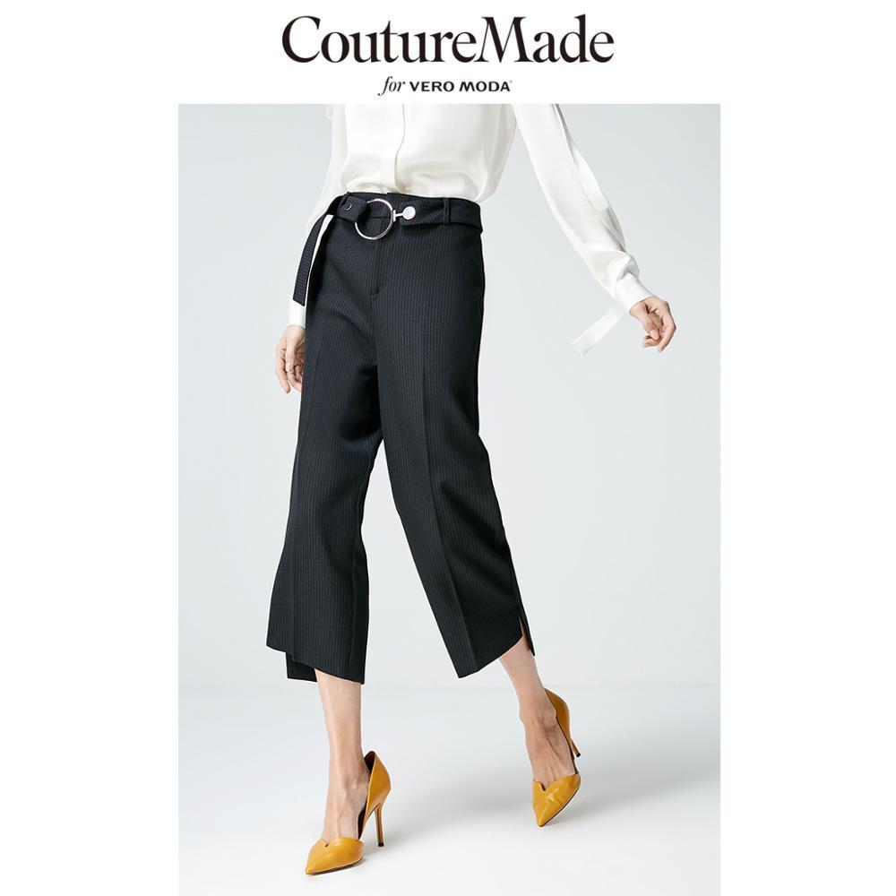Vero Moda CoutureMade Women's OL Split Cuffs Striped Capri Suit Pants | 31916J517