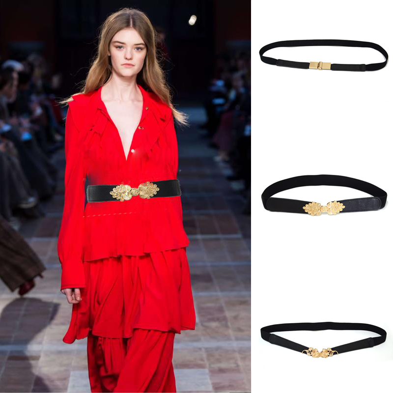 Luxury Brand 2020 New Women's Fashion Simple Elastic Band Flower Buckle Decorative Belt Desinger Ladies Small Girdle Bg-1523