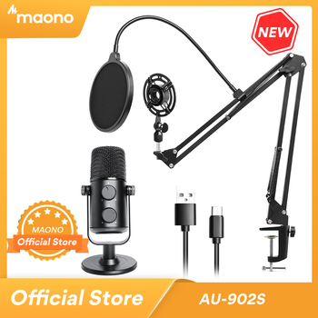 MAONO AU-902S USB Microphone Gaming Live Broadcast Singing Studio Condenser Mic With Arm Stand for PC Phone Youtube Tiktok Skype 1