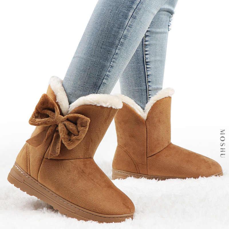 Kış kadın botları papyon kar botları katı kadın yarım çizmeler üzerinde kayma kadın rahat ayakkabılar yuvarlak ayak Chaussures Femme